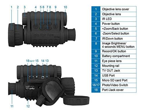 Bestguarder Visor monocular Digital de visión Nocturna 6x50mm Cámara infrarroja de Alta definición de 5mp Foto 720p… 2