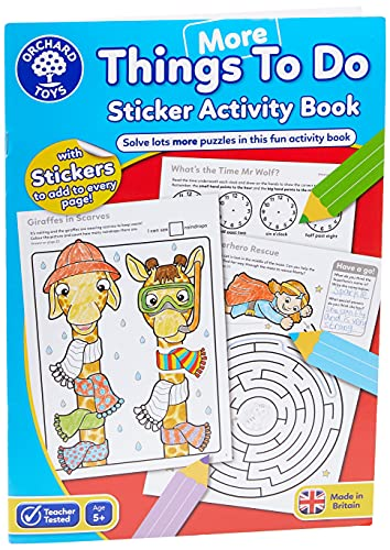 Orchard Toys More Things To Do Sticker Colouring Book - Educational Activity Book - 5 Years +, CB13, Multicolor, 21cm x 2cm x 29cm