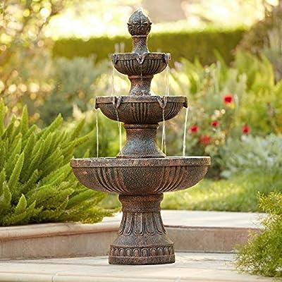 "John Timberland Ravenna Italian Outdoor Floor Water Fountain 43"" High 3-Tiered Floor Cascading for Yard Garden Lawn"