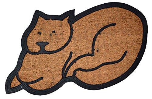 Fußmatte aus Kokos-Naturfasern in ein Dekor aus Gummi eingebettet, Katzenmotiv