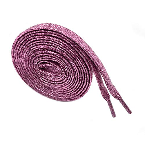 """N/A"" Glitter Flat Shoelaces Flat Sparkly Shiny Shoelace for Teams Sneakers,Pink Shoelace for Shoes, Skates, Boots, Hockey and Ice Skates, 1 Pairs"