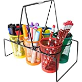 Really Good Stuff Store More Wire Works Classroom Supply Caddy – Includes 1 Caddy with 6 Mesh Cups – Organize Crayons, Scissors, and More – Keep Classroom Tables Neat – Have Supplies Ready for Groups