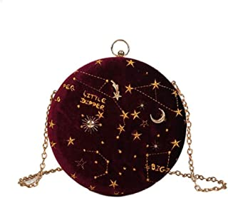 NEW Hot Women Corduroy Evening Bags Badge With Chain Round Shaped Clutch Purse