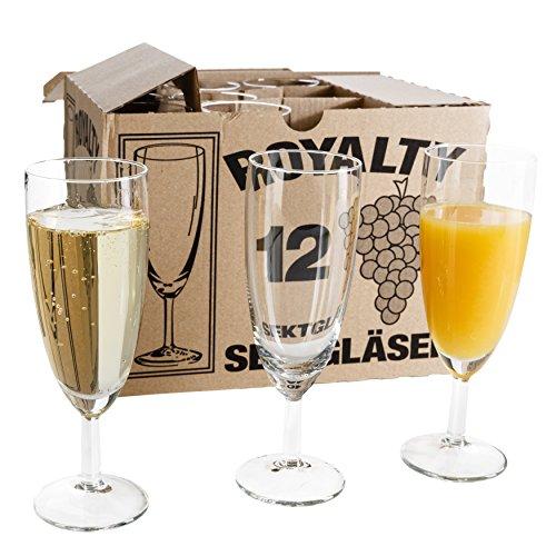Van Well 24er Set Sektglas Royalty Standard, 18 cl, Ø 50 mm, H 160 mm, Sektflöte, Kelchglas, Champagner-u. Prosecco-Glas, Partyglas, glasklar, Gastronomie
