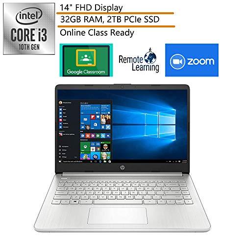 2020 HP 14 14' FHD Laptop Computer, Intel Core i3-1005G1(Beats i5-7200u), 32GB DDR4 RAM, 2TB PCIe SSD, Webcam, Microphone, Silver, Windows 10 in S, iPuzzle DVD, Online Class Ready, Google Classroom