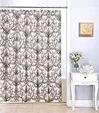SHUHUI Ariel Duschvorhang-Rollen, Blumen-Dekor, Damast, 183 x 183 cm, Schokoladenbraun
