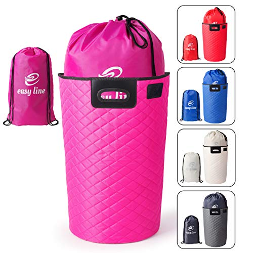 Easyline Faltbarer Wäschekorb (pink) Hochwertig 3 in 1 als Geschenk Ansprechende Wäschtasche Wäschesammler Wäschesack Aufbewahrungskorb und -Box Laundry Basket Foldable