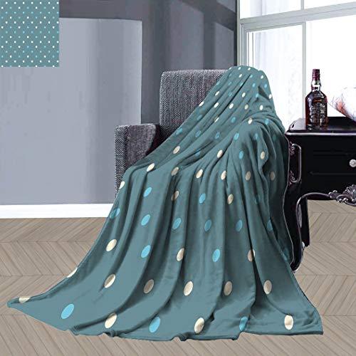 JxjwsPrints Manta de cama suave geométrica, diseño de lunares tradicionales de Europa occidental, motivos de microfibra mullida para el hogar, 80 x 60 pulgadas, azul pizarra, azul pálido, crema