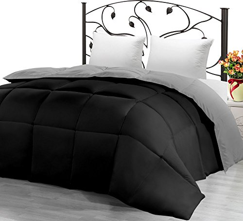 اسعار Utopia Bedding Down Alternative Reversible Comforter All Season Duvet Insert Microfiber Box Stitched, 3D Hollow Siliconized Comforter, Twin, Black/Grey