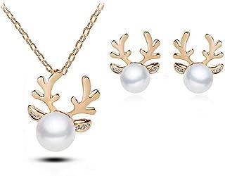 Elk Reindeer Deer Horn Pendant Necklace Simulated Pearl Stud Earrings Set For Women Girls Crystal Cute Xmas Christmas Gift Jewelry Set