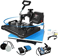 Aonesy Pro 5 in 1 Combo Heat Press Machine for T-Shirt Hat Cap Mug Plate, Multifunctional Swing Away 360-degree Rotation Digital Heat Transfer Sublimation Machine (12 x 15 Inch)