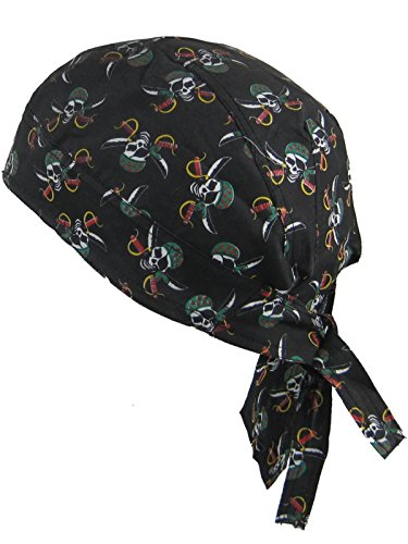 Bandana pañuelo para la cabeza pre atada calaveras del pirata sobre fondo negro