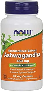 Now Foods Supplement Ashwagandha, 450 mg, 90 Veggie Caps.