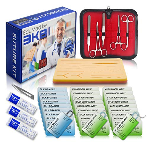 EduMed 41 Piece Practice Suture Kit, Medical & Veterinary Surgical Training Kit