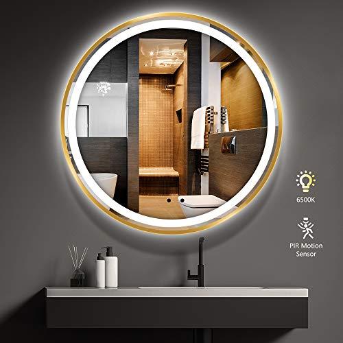 Specchio da Bagno LED Rotondo, LITZEE 80cm Specchio Cosmetico da Parete con Illuminazione con Rilevatore di Movimento, Luce Bianca 6500K