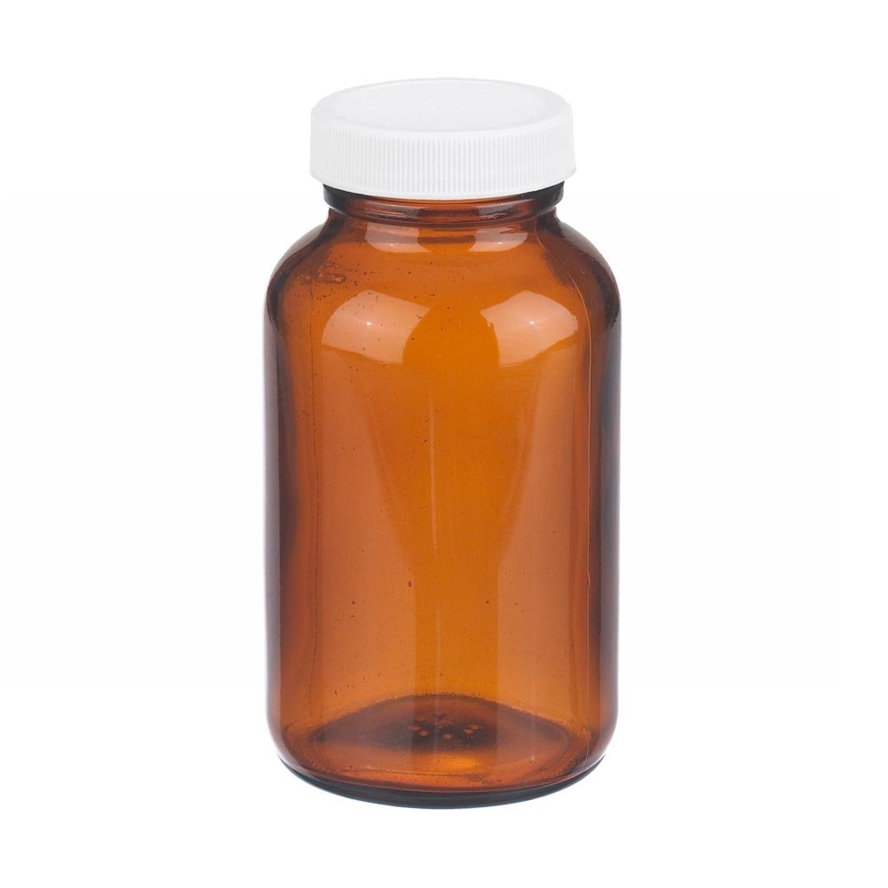 Case Of 24 Amber Glass Wheaton W216946 Wide Mouth Packer Bottle Capacity 2oz With 33-400 White Polypropylene PTFE Faced Polyethylene Screw Cap Diameter 44mm x 75mm