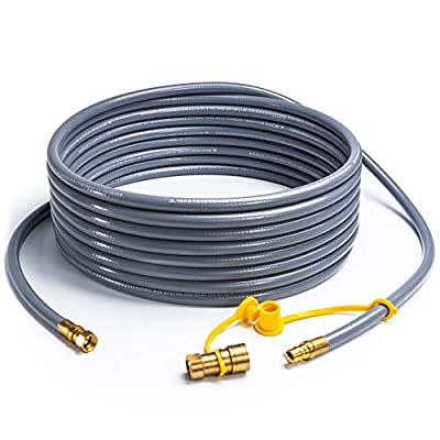 SHINESTAR 36 Feet Natural Gas Hose with 3/8inch Quick Disconnect for Most Grill, Fire Pit, Patio Heater, Pizza Oven