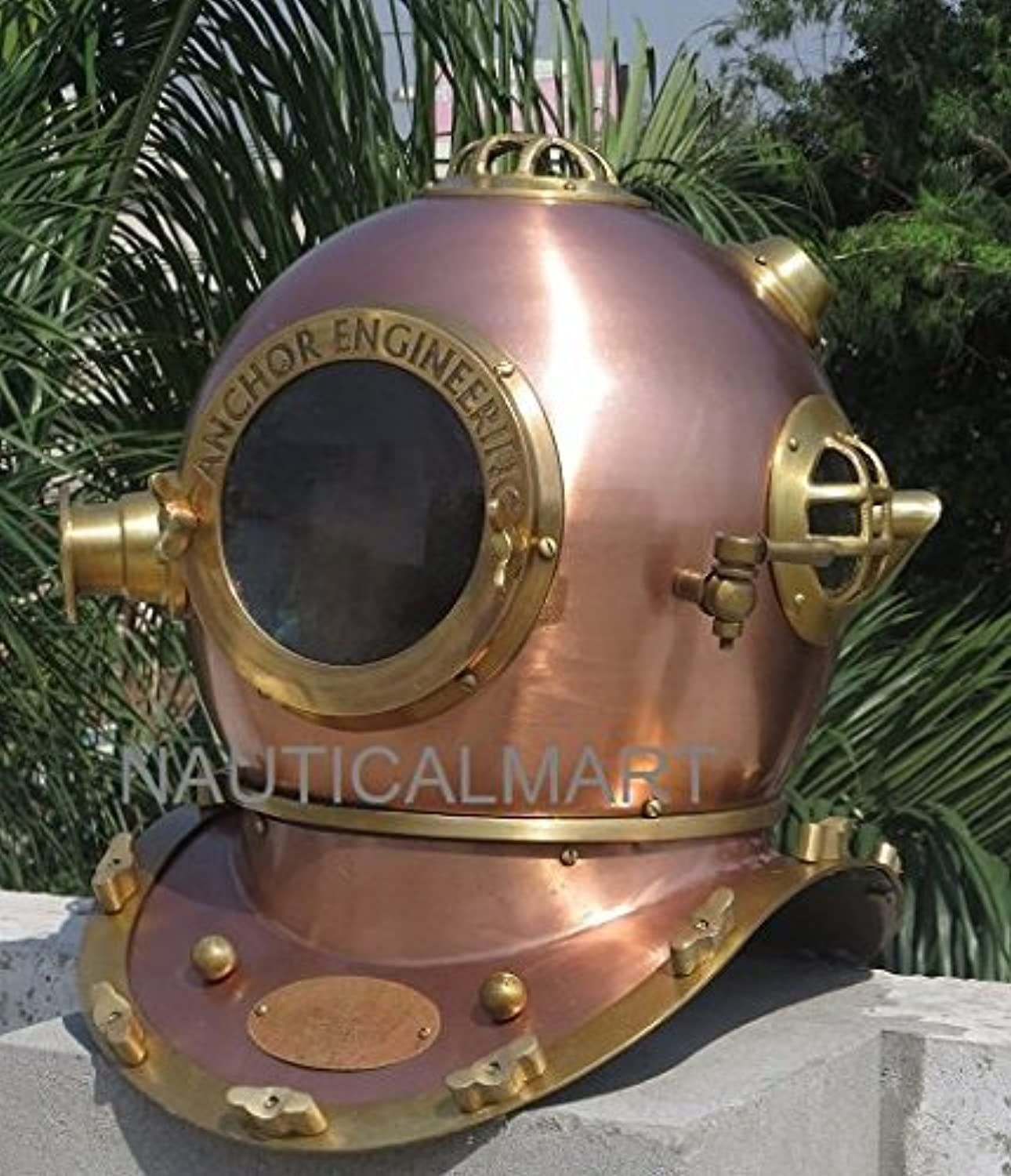 NAUTICALMART Copper and Brass Antique Diving Divers Helmet