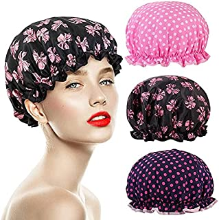 Bonnet de Douche, 3 Pièces Etanche Bonnet de Douche Imperméable élastiques Chapeau Réutilisables, Bonnet de Bain Cheveux A...