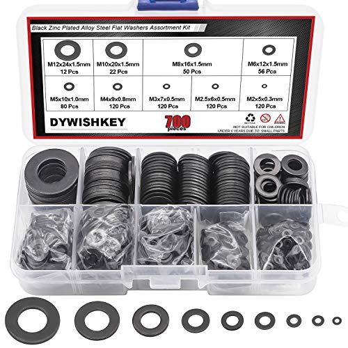 DYWISHKEY 700Pcs 9 Sizes Black Zinc Plated Steel Flat Washers Assortment Kit (M2 M2.5 M3 M4 M5 M6 M8 M10 M12)