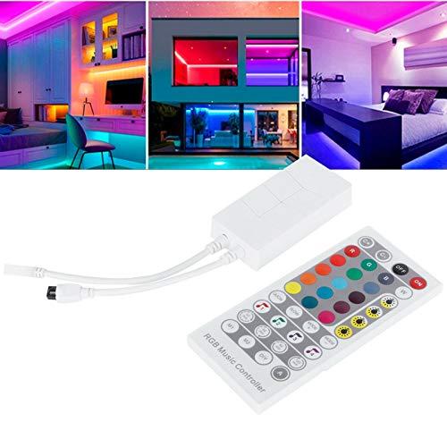 CUEA Controlador de música RGB, DC5-24V Controlador de Tira de luz de 4 Botones, 16 Millones de Colores de Control Iluminación del hogar para Luces descendentes Módulo de Luces Luces de Techo