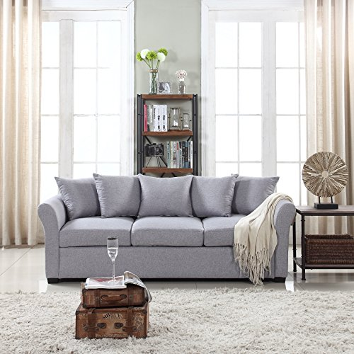 Divano Roma Furniture Classic Sofas, Light Grey