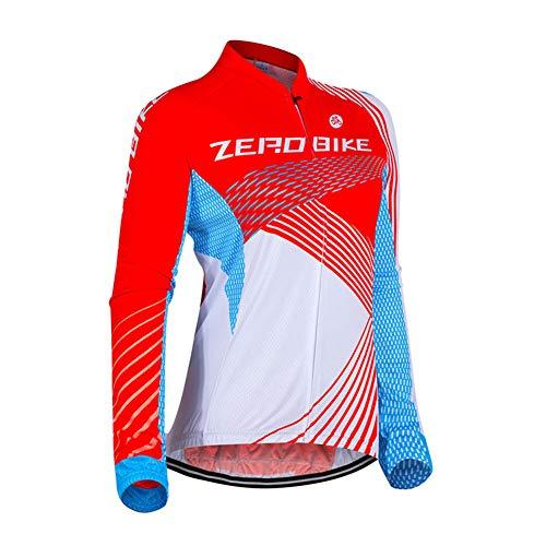 Damen Atmungsaktiv Schnelltrocknend Fahrradtrikot, Outdoor Lange Ärmel Radsport-Shirt (0022, M)