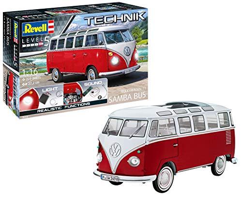 Revell 00455 Technik Volkswagen VW T1 Samba Bus, Bulli originalgetreuer Modellbausatz für Experten, mit elektronischen Komponenten, 1:16/27,2 cm