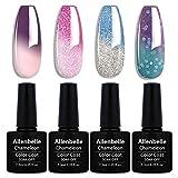 Allenbelle Smalto Semipermanente Camaleonte Nail Polish UV LED Gel Unghie (Kit di 4 pcs 7.3ML/pc) 060