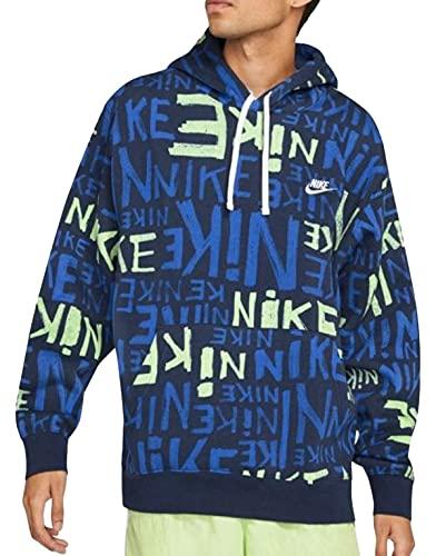 Nike Sportswear - Sudadera deportiva para hombre con capucha, color azul y verde multicolor L