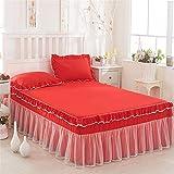 CQZM Einfach Spitze Bettvolant Baby Elastic Mit Rüschen Bettrock Tagesdecke Single Double Bed Skirt Queen Wrap Aro& Style Kingsize Bett Röcke KnitterfestJ-120x200cm(47x79inch)