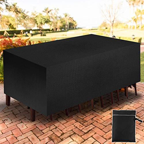 YAOBLUESEA Gartenmöbel Abdeckung, 210D Oxford Stoff Staubdicht wasserdichte Abdeckung für Terrasse Tisch und Stühle, Sitzgruppe, Rechteckig, Schwarz (200x160x70cm)