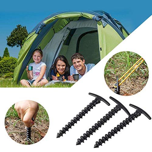 Chnrong Camping Tent Screw 5Pcs Plastic Stakes Small Tarp Stakes Tent Spikes for Sand, Lawn, Beach Towels Blankets. Compact & Lightweight Tent Pegs with an Anchor