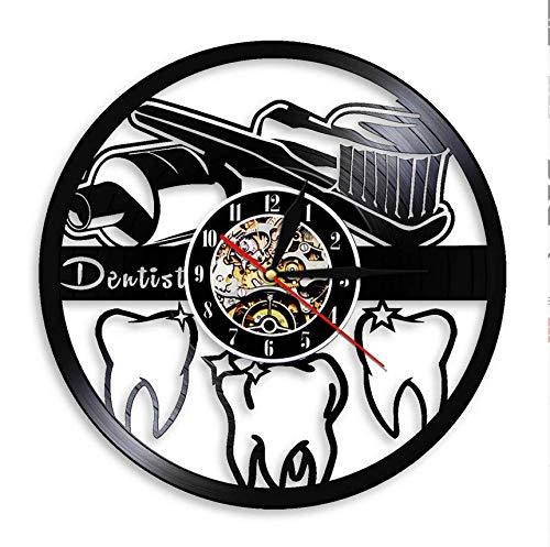 Msbvf Vinyl Wanduhr Mundhygiene Zahnbürste und Zahnpasta Badezimmer Dekor Wanduhr Zähne Zähne Zahnklinik Vinyl Schallplatte Wanduhr Zahnarzt Geschenk(30cm.12 inches.)