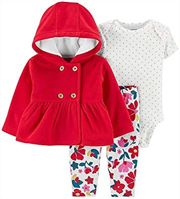 Carter's Baby Girls' 3-Piece Little Jacket Set, Red, 9 Months