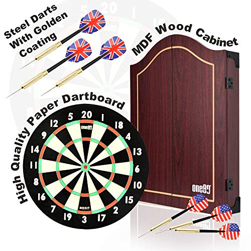 ONE80 Dartboards mit Dartschrank aus Holz, Paper Dartboard Papier Dartscheibe mit Steeldarts