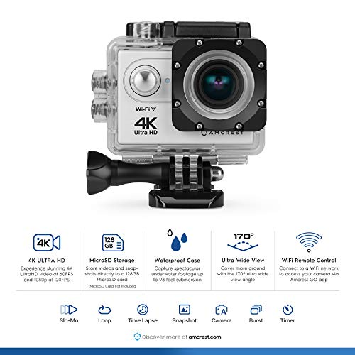 Amcrest GO 4K Action Camera 60fps, Elite 16MP@60fps Underwater Waterproof Camera with 170° Wide Angle, WiFi Sports Cam with Remote 1 x Battery and Mounting Accessories Kit, AC4K-600