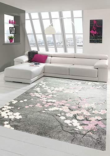 Merinos Teppich modern Wohnzimmer Teppich mit Blumenmotiv Pink Grau Größe 140x200 cm