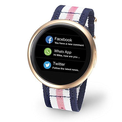 MyKronoz Smartwatch zeround 2HR Rosa Weiß Blau NATO