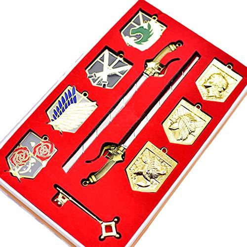 Anime Attack on Titan Cosplay Shingeki No Kyojin Badge Collana Ciondolo Spada Set Scouting Legione Emblema Lega Chiave Catena Staffa inclusa