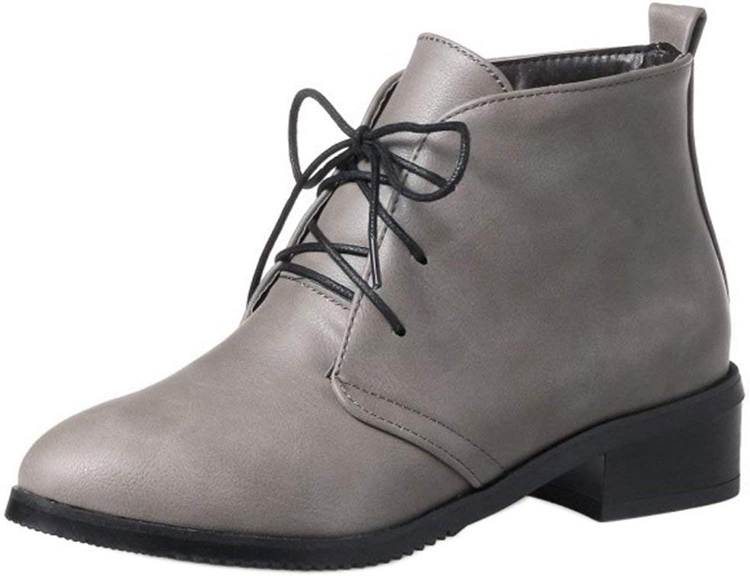Women Stylish Artificial Fur Mid Heel Chukka Boots Lace Up