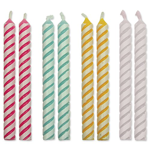 PME 4 Colour Striped Candles, Medium Size, 24-Pack
