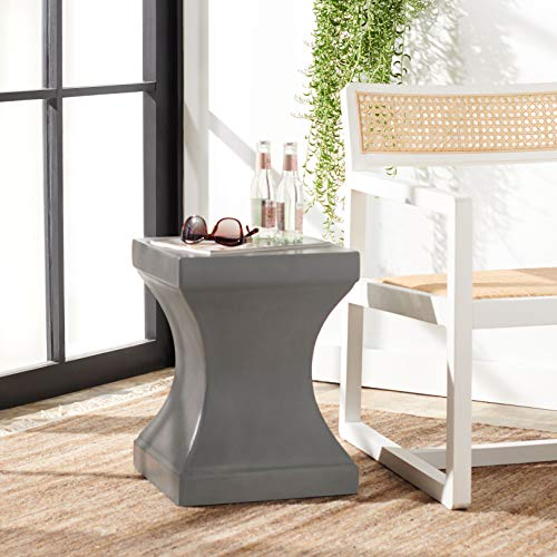 Safavieh Outdoor Collection Curby Modern Concrete Dark Grey 17.7-inch Accent Table