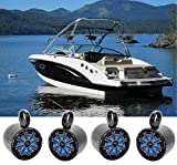 (4) KICKER 45KM84L 8' 1200 Watt Marine Boat Wakeboard Tower Speakers w/LED's KM8