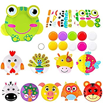 Crafts for Toddlers Animal Paper Plate Art Kit Arts and Crafts Kits for Kids Boys Girls Toddler Activities Art Supplies Party Favor Learning Game for Preschool Birthday Halloween