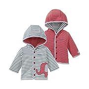 Bornino GOTS Wendejacke Elefant - Babyjacke mit Wendefunktion & angesetzter Kapuze - Jacke aus 100% Bio-Baumwolle - offwhite geringelt/rot geringelt