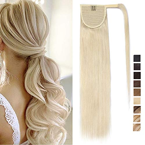 Extension Queue de Cheval Extension Queue de Cheval Lisse Blond 40 Cm [Attaché par Ruban Adhésif] Extension Naturel 100% Remy Hair - 16\
