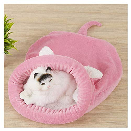 Aqiong KAERMA zachte velveteen kat bedden winter warm huisdier verwarmde mat kleine hond puppy huisdier kennel huis voor kattenslaapzak Nest Cave bed huisdieraccessoires (kleur: roze, maat: 65x55cm)