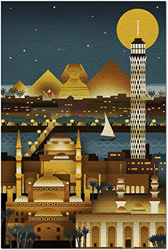 Romance-and-Beauty Kairo, Ägypten - Retro Skyline (kein Text) (Puzzle für Erwachsene) 1000 Stück