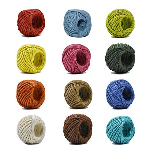 12 Color Jute Twine Natural Jute String 2mm 3 Ply Twine String for Artworks, DIY Crafts Gift Wrapping Twine, Picture Display and Embellishments Gift Package 33 Yard per Roll